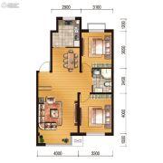 世百居・洪湖湾2室2厅1卫88平方米户型图