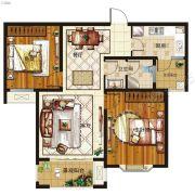 腾飞鹿鸣湖畔2室2厅1卫92平方米户型图