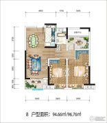 新华九龙首府2室1厅1卫94平方米户型图