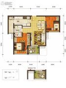 乐古浪成都2室2厅1卫80平方米户型图