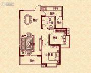 新华茗苑2室2厅1卫88平方米户型图