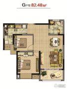 虹亚・翰庭雅苑2室2厅1卫82平方米户型图