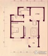 戴河林语1室2厅1卫72平方米户型图