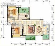 锦亭心街2室2厅1卫92平方米户型图