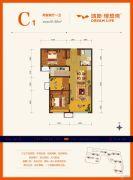 鸿坤・理想湾2室2厅1卫91平方米户型图