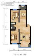 华运.贻翔苑2室2厅1卫75--89平方米户型图