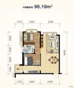 恒大悦公馆2室2厅1卫96平方米户型图