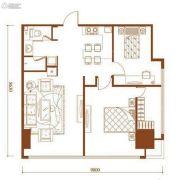 朗勤泰元中心2室2厅1卫111平方米户型图