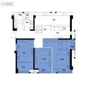 正荣・财富中心3室2厅2卫105平方米户型图