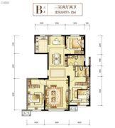 世茂悦海国际社区・悦玺3室2厅2卫129平方米户型图