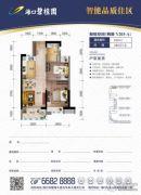 海口碧桂园2室2厅1卫63平方米户型图
