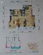 碧海新城3室2厅2卫90平方米户型图
