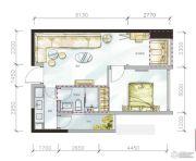 金地天府城1室2厅1卫69平方米户型图