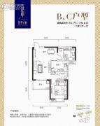盛景天地公馆2室2厅1卫76--79平方米户型图