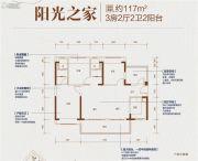 碧桂园天骄公馆3室2厅2卫117平方米户型图