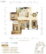 置地城3室2厅2卫86平方米户型图