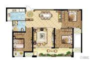 世茂香槟湖3室2厅2卫107平方米户型图