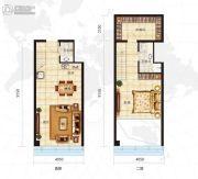 众美定制广场1室2厅2卫56平方米户型图