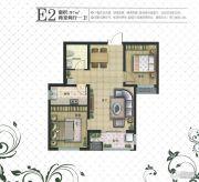 现代颐和苑2室2厅1卫87平方米户型图