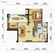 九腾1街区1室1厅1卫57平方米户型图
