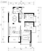 华发城建未来荟3室2厅1卫84平方米户型图