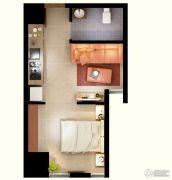 文化空间1室1厅1卫37平方米户型图