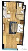 九洲新世界1室1厅1卫42平方米户型图