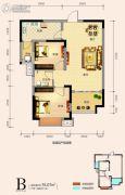 天鸿中央大院2室2厅1卫75平方米户型图