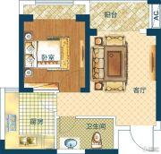 深业世纪新城1室1厅1卫46平方米户型图