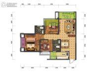 蓝光中央广场3室2厅2卫84平方米户型图