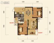 卧龙墨水湖边2室2厅1卫91平方米户型图
