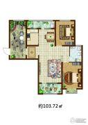 傲湖铂岸2室2厅1卫103平方米户型图