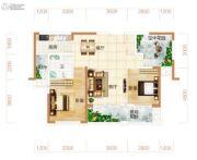 东方美地3室2厅1卫97平方米户型图