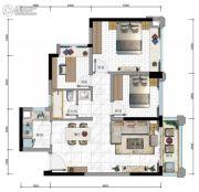 华发・又一城3室2厅1卫74平方米户型图