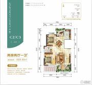 银滩万泉城2区2室2厅1卫89平方米户型图