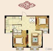 明悦景庭2室2厅1卫76平方米户型图