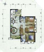 保利�W府里3室2厅2卫107平方米户型图