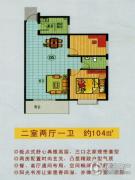 金西华庭2室2厅1卫100--104平方米户型图