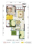远达春天里2室2厅1卫77平方米户型图