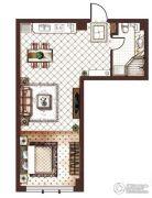 第九频道1室2厅1卫70平方米户型图