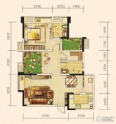 世茂城3室2厅2卫87平方米户型图