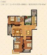 鹏欣水游城3室2厅2卫170平方米户型图