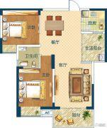 深业世纪新城2室2厅1卫89平方米户型图