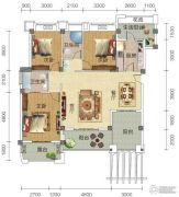 宏信依山郡3期3室2厅2卫134平方米户型图