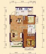 恒大御府2室2厅1卫77平方米户型图