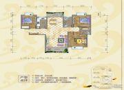 银海富都3室2厅2卫129平方米户型图