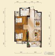 山水华庭2室2厅1卫75平方米户型图