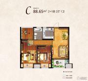 河枫御景3室2厅1卫88平方米户型图