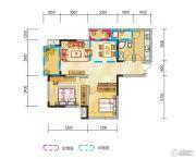 金地天府城2室2厅1卫87平方米户型图