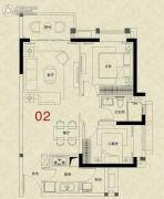 广州绿地城2室2厅1卫73平方米户型图